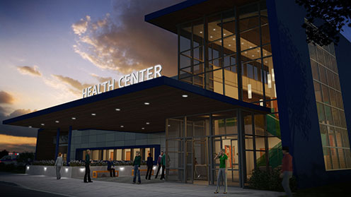 Rendering of a health care center designed in Revit and rendered using 3ds Max Design. Image illustrates a workflow between Revit and 3ds Max Design.